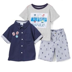 Navy button down shirt, shorts & top Boys 3pcs Set